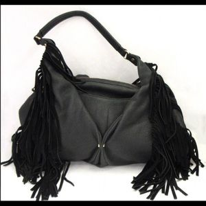 Aimee Kestenberg Black Leather Fringe Purse